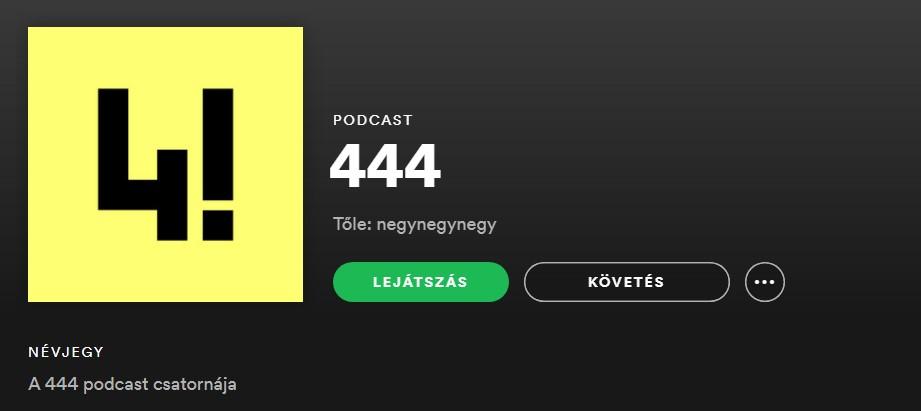 Elindult a 444 Spotify-csatornája