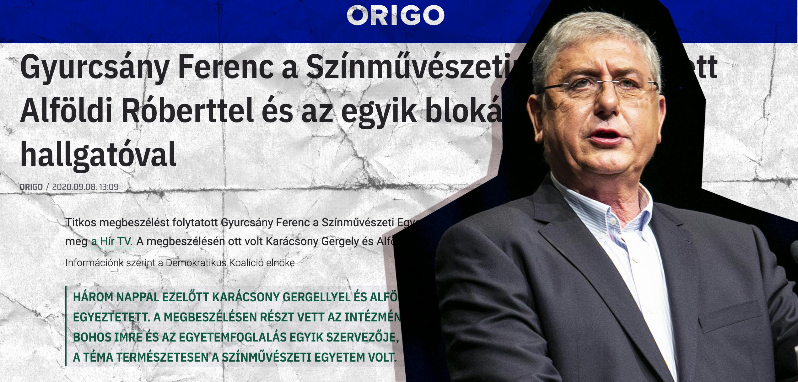 Hazudott az Origo, mikor arról írt, hogy Gyurcsány összeesküvése áll az SZFE-s tüntetések mögött
