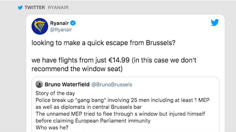 A Ryanair gyorsan kapcsolt és az illegális orgiáról menekülő EP-képviselő sztorijával reklámozza a brüsszeli repülőjegyeit