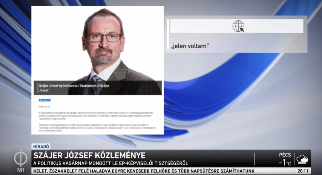 A köztévé Híradója is beszámolt a Szájer-ügyről