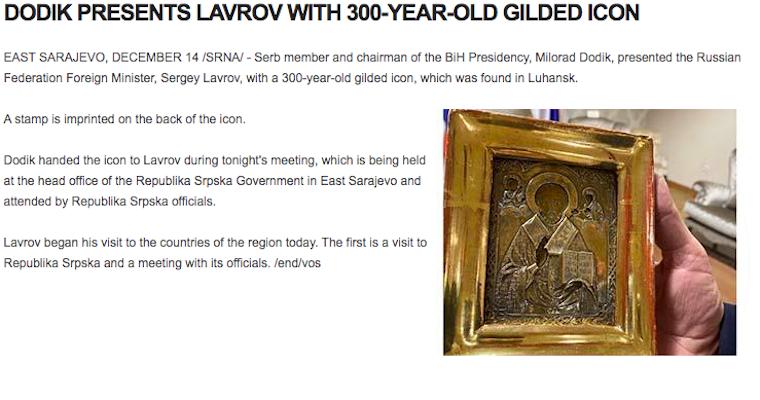 Szláv mesterhármas: Ukrajnából lopott ikont ajándékozott a boszniai szerb elnök az orosz külügyminiszternek