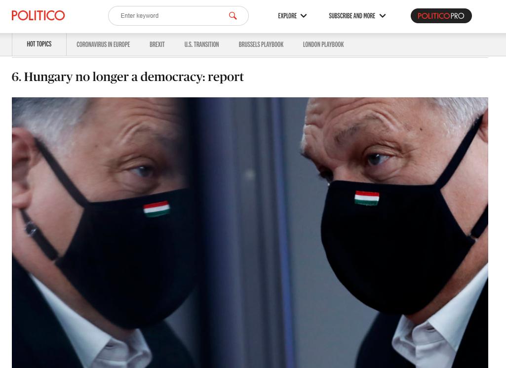 """A """"Magyarország már nem demokrácia"""" című lett a Politico legolvasottabb, nem koronavírus témájú cikke 2020-ban"""