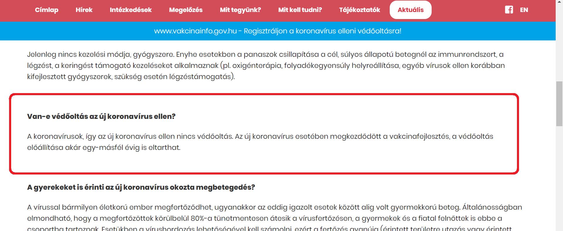 A magyar Koronainfó-oldalon még az szerepel, hogy nincs is védőoltás koronavírus ellen