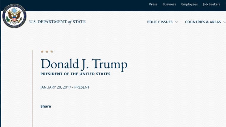 Nem külső hacker, hanem egy dühös munkatárs írta ki az amerikai külügy weboldalára, hogy Trump már nem elnök