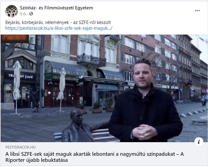 """Az SZFE tiltakozó diákjait gyalázó """"riportot"""" osztott meg az egyetem Facebook-oldala"""