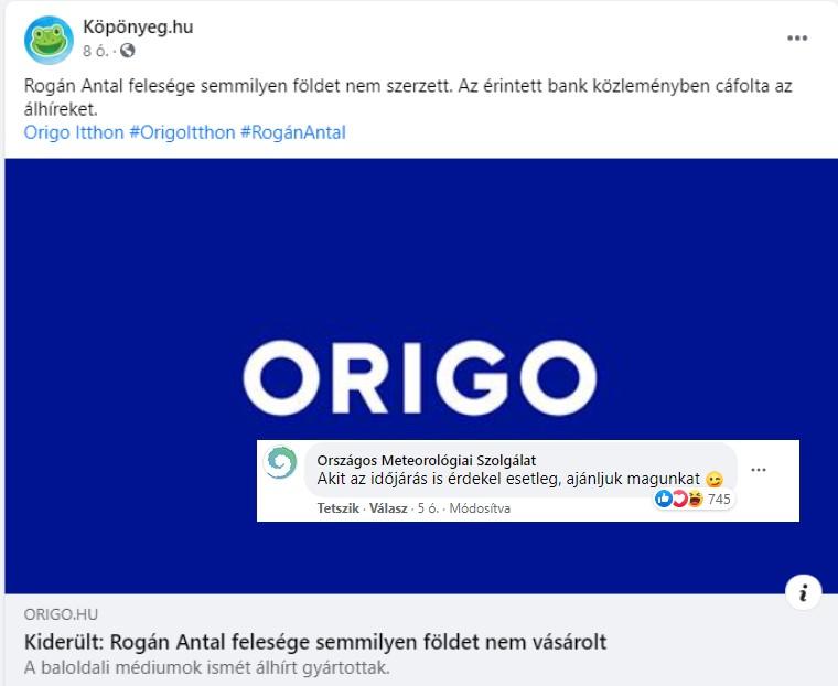 Kormánymédiás Rogán-ügyi cikket posztolt a Köpönyeg.hu a Facebookon, ez már az OMSZ-nek is sok volt
