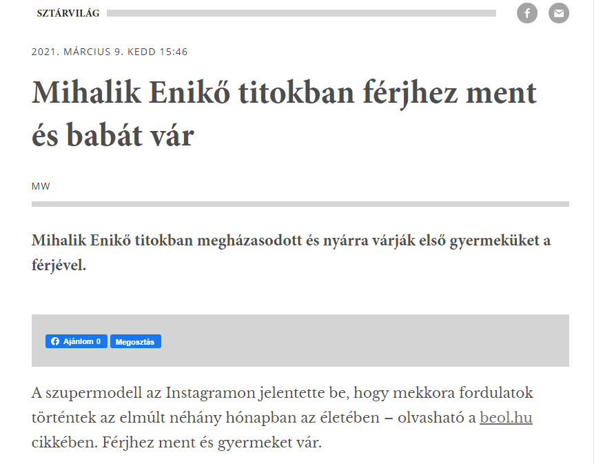 A fideszes média egyszerűen inkább nem írta le, hogy kihez ment hozzá Mihalik Enikő