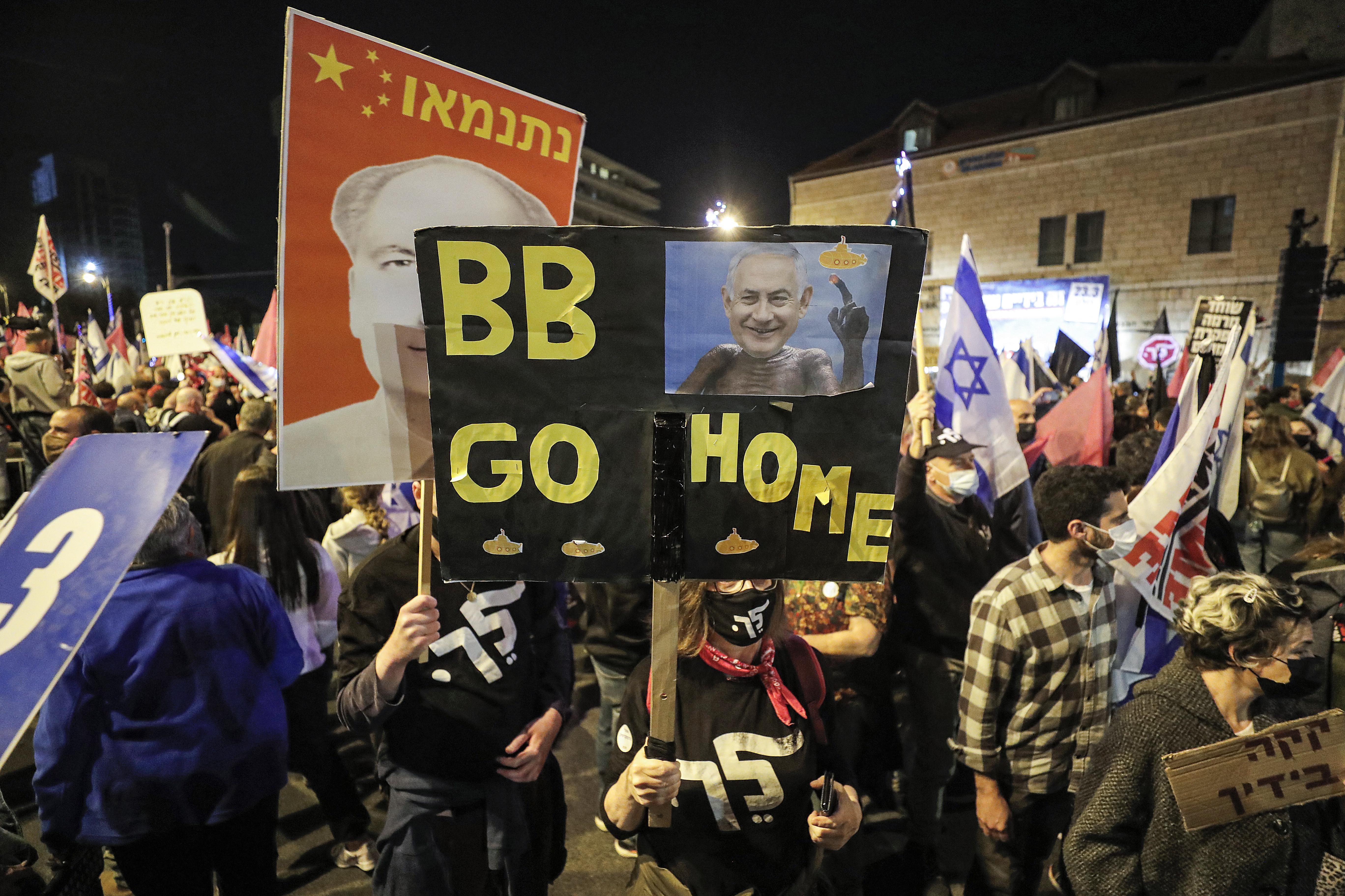Húszezren tüntettek Netanjahu ellen Jeruzsálemben, napokkal a választás előtt