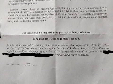 """""""Adminisztrációs tévedés"""" miatt küldtek a kórházi dolgozóknak a papírt, hogy lehallgathatják őket"""