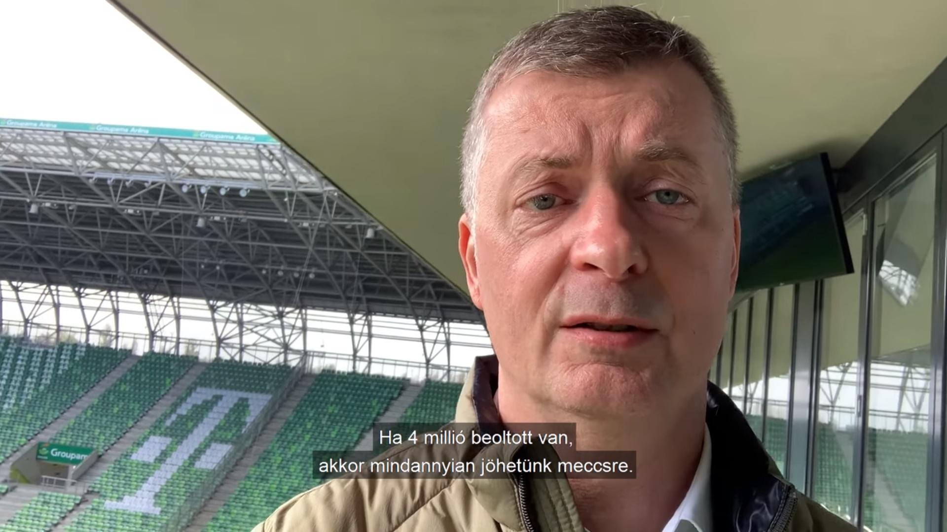 Kubatov: Ha megvan a 4 millió beoltott, szombaton már nézők előtt játszik a Fradi a stadionjában