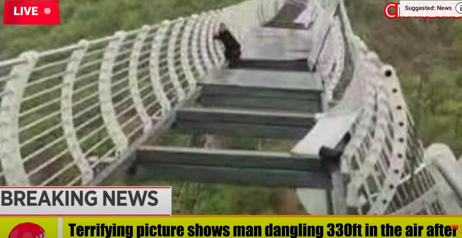 Összetört egy kínai üveghíd egy turista lába alatt