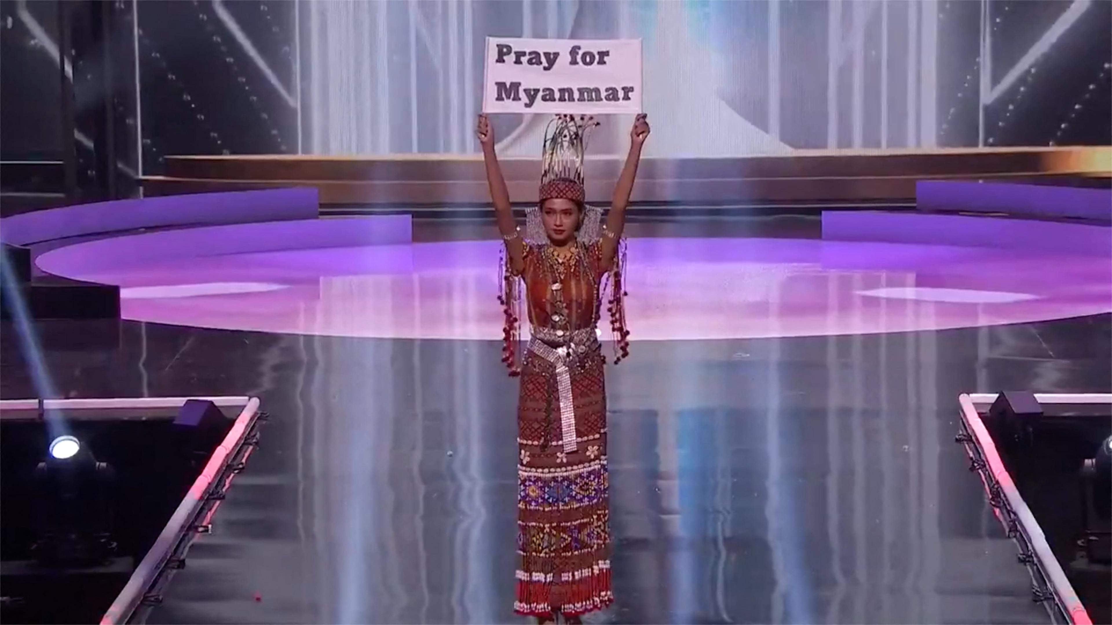 A mianmari szépségkirálynő a Miss Universe döntőjében beszélt a katonai junta ellen