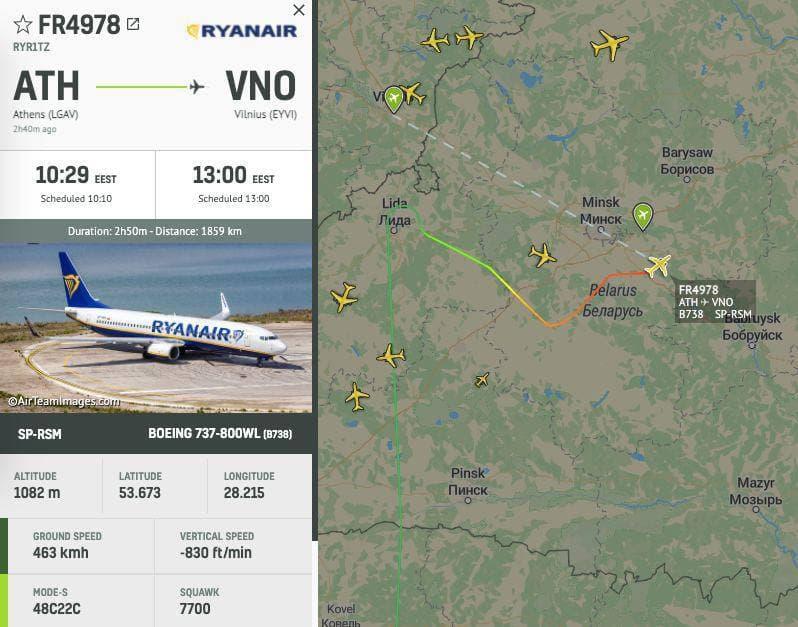 Leszállíttatták a Ryanair Athénból Vilniusba tartó járatát Minszkben, és őrizetbe vettek egy fehérorosz ellenzéki aktivistát