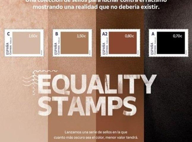 A rasszizmus ellen küzdve különféle bőrszínű bélyegekkel jött ki a spanyol posta, de pont a fehér lett a legértékesebb