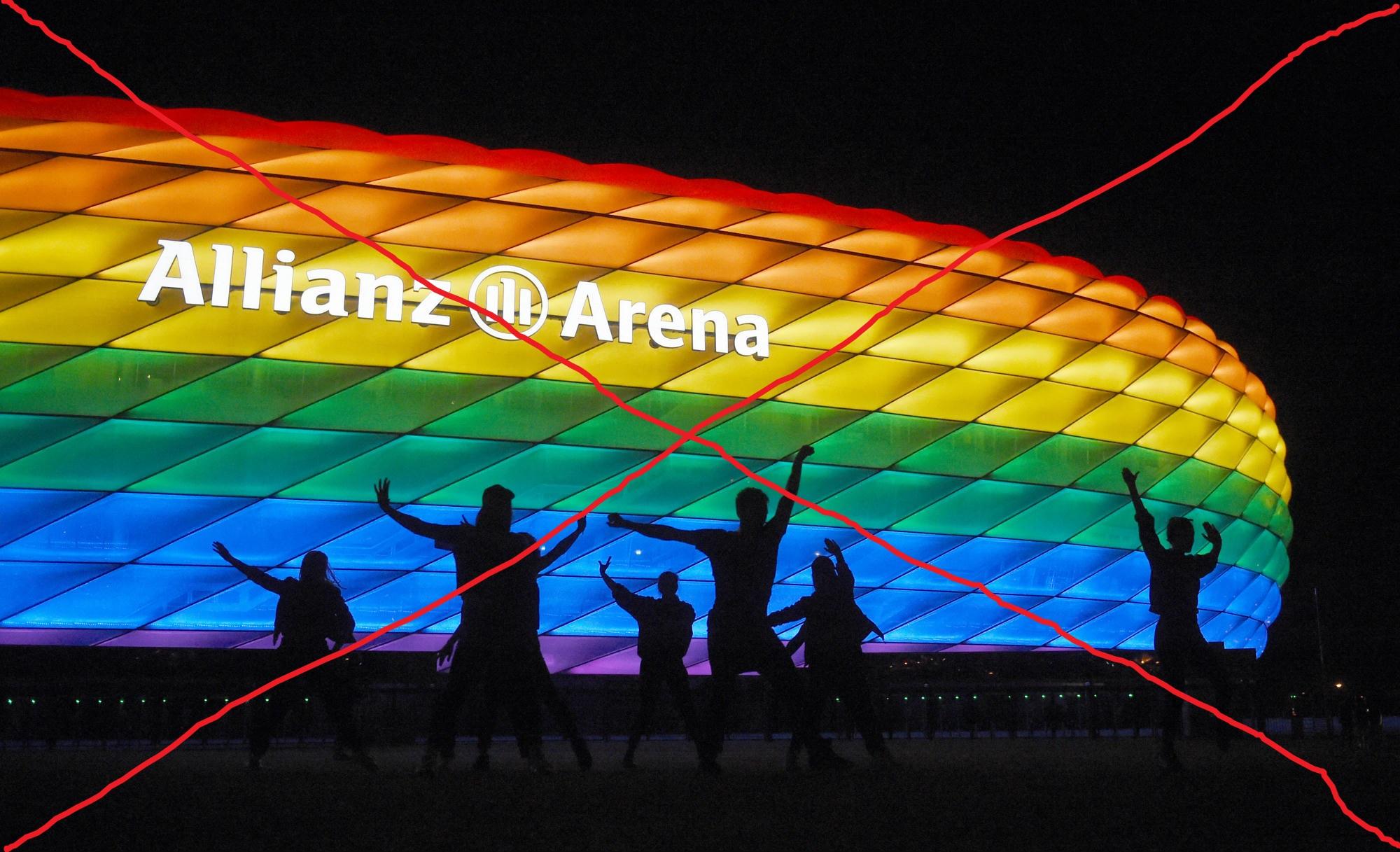 Nem engedi az UEFA, hogy szivárványszínűre fényfessék a müncheni stadiont