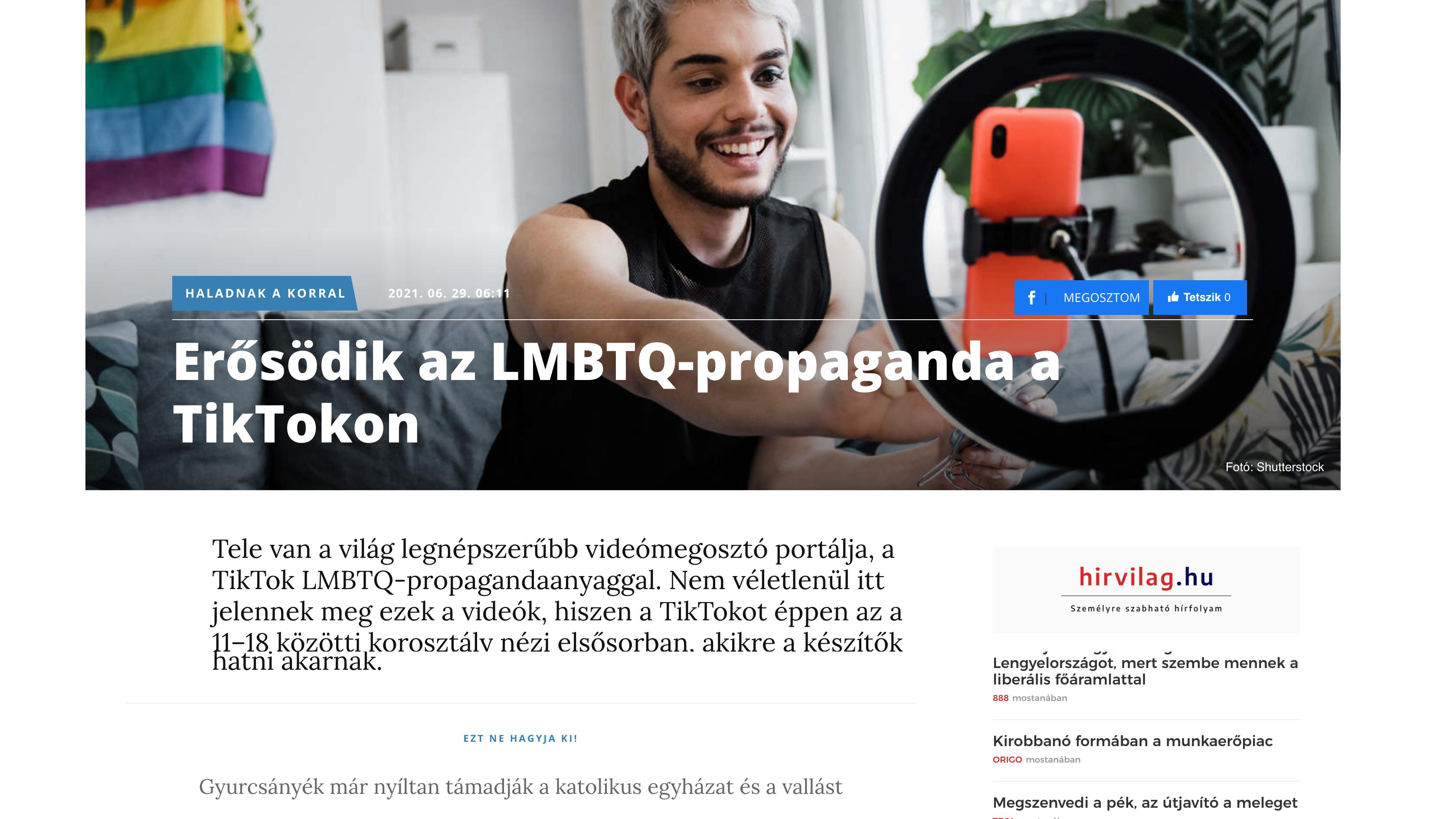 """Az összes vidéki lap szerint """"erősödik az LMBTQ-propaganda a TikTokon"""""""