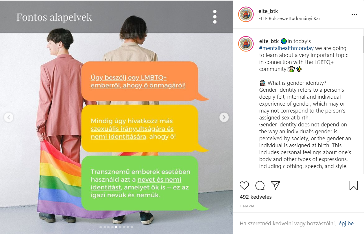 Az ELTE BTK kirakott egy LMBTQ-kisokost az Instagramra, majd a szélsőjobbos felháborodás hatására inkább törölték