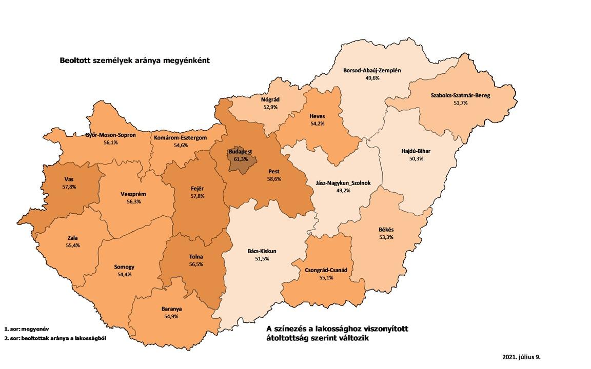 Budapesten 60 százalékos az oltottság, Borsodban és Szolnok megyében nem éri el az 50-et