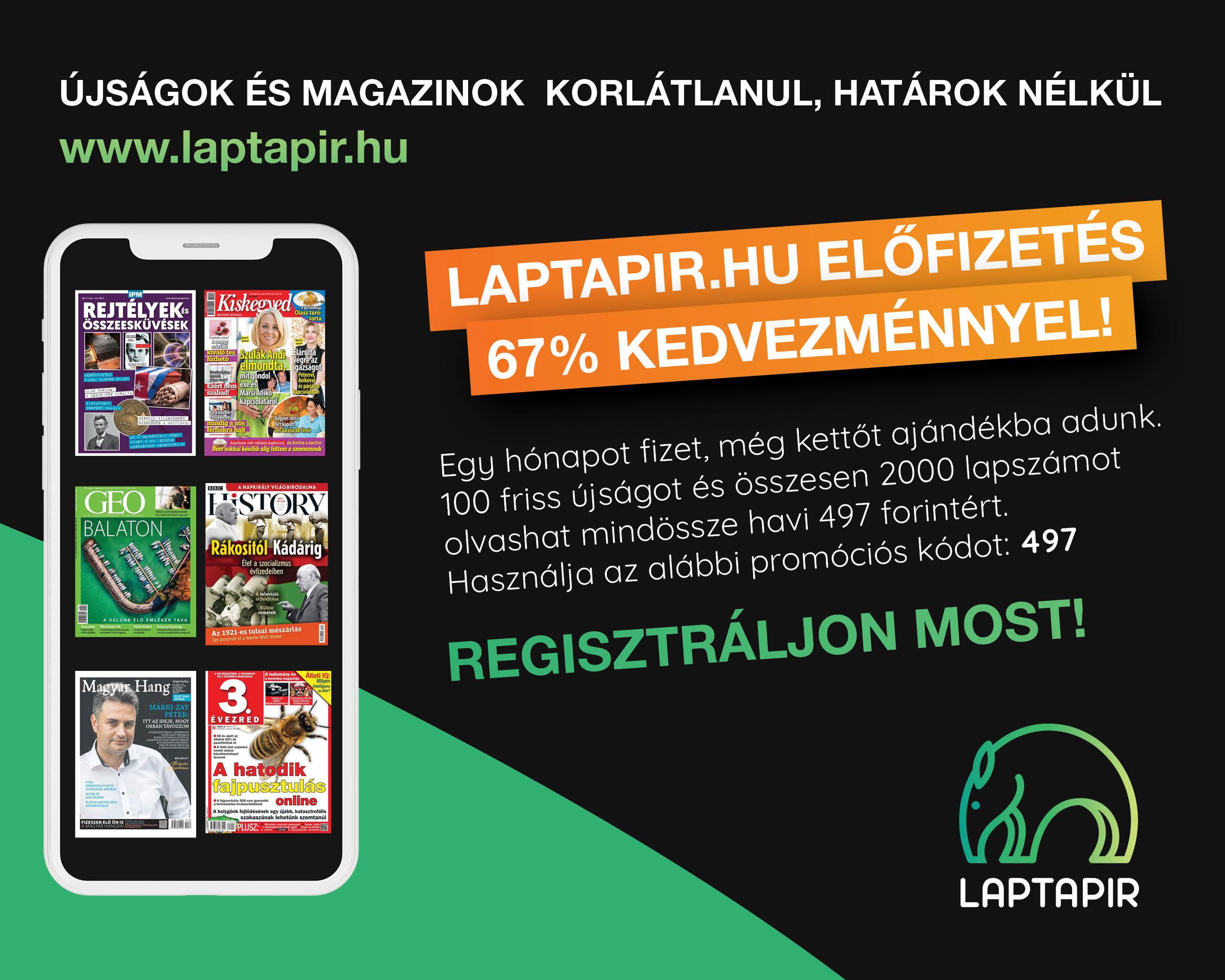 Most csak havi 497 forintért 67% kedvezménnyel olvashat 100 újságot a laptapir.hu oldalon!