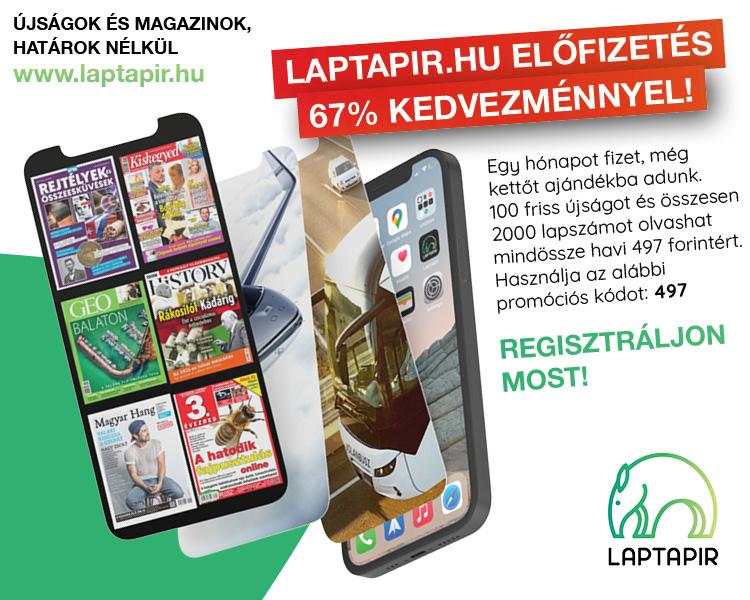 Most havi 497 forintért 67% kedvezménnyel olvashat 100 újságot a laptapir.hu oldalon!