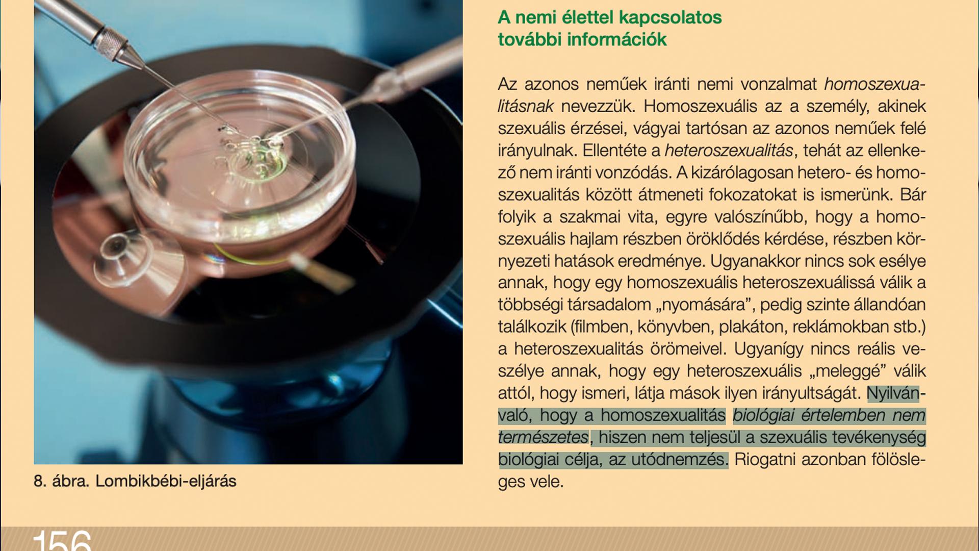 Nyolcadikos biológia-tankönyv: Nyilvánvaló, hogy a homoszexualitás biológiai értelemben nem természetes