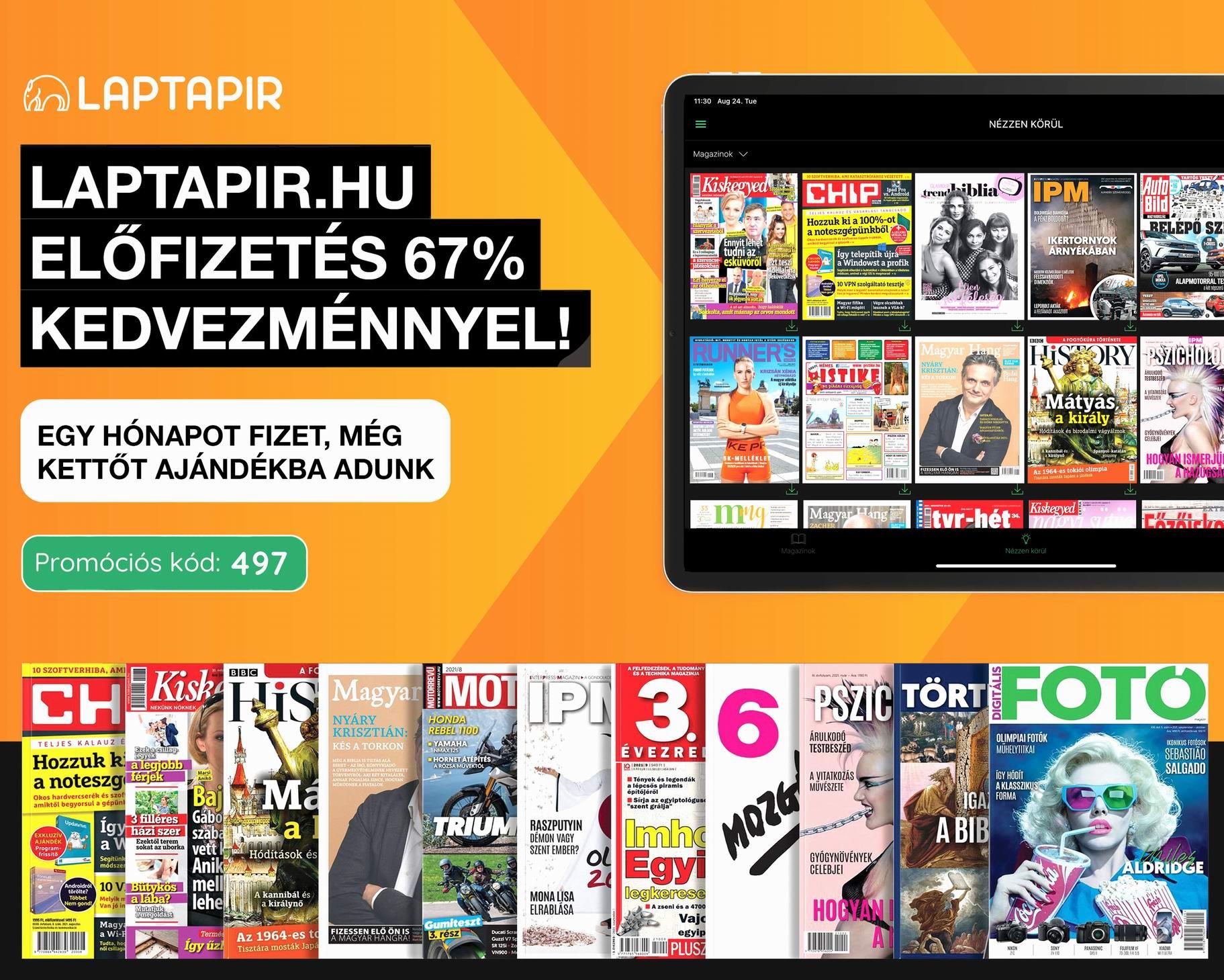 Most 67% kedvezménnyel olvashat 100 újságot havi 497 forintért a laptapir.hu oldalon!