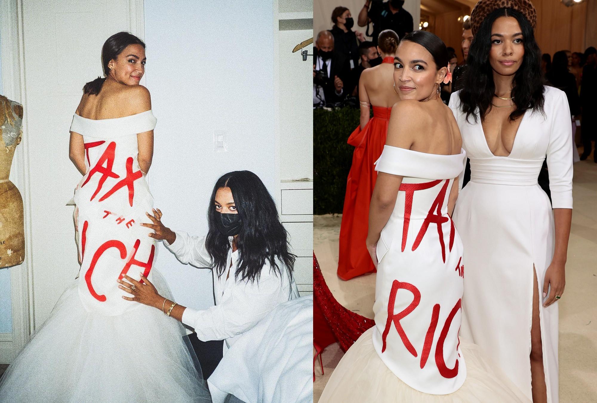 """Alexandria Ocasio-Cortez a Met-gálás ruhájával üzent: """"Adózzanak a gazdagok"""""""