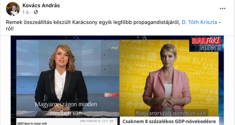 Bocsánatot kért D. Tóth Krisztától az Origo újságírója, miután egy kamu Facebook-poszt alapján lepropagandistázta