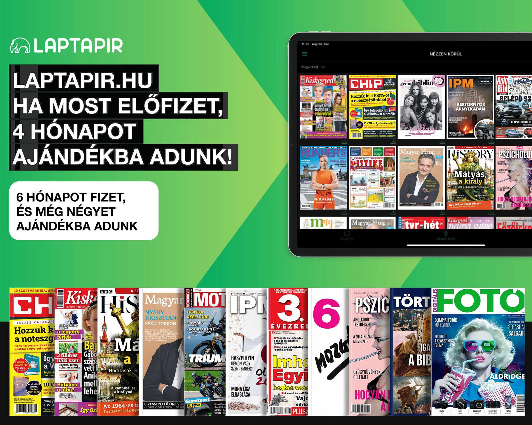 100 friss újságot, 2000 lapszámot olvashat a laptapir.hu oldalon!