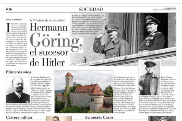 A legnagyobb chilei konzervatív lap írt egy megemlékezést Göringről, aztán csodálkoztak, hogy felháborodást váltott ki